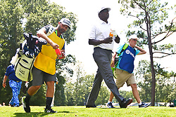 August 10, 2017 - Charlotte, North Carolina, United States - Vijay Singh (C) and his caddie Daniel Sahl (L) walk off the 18th green during the first round of the 99th PGA Championship at Quail Hollow Club. (Credit Image: © Debby Wong via ZUMA Wire)