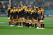 """Chiefs paying their respect for the late Sir Fred """"The Needle"""" Allen before their game at Waikato Stadium , Chiefs v Hurricanes, at Waikato Stadium, Hamilton, New Zealand, Saturday 28 April 2012. Photo: Dion Mellow/photosport.co.nz"""