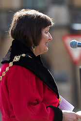 Westminster, London, March 25th 2016. Westminster's annual interdenominational Easter procession takes place with a procession from Methodist Central Hall to Westminster Cathedral and then on to Westminster Abbey, with the cross borne by people from The Passage, a homeless charity. PICTURED: The Lord Mayor of Westminster Councillor The Lady Flight addresses the gathering outside the Methodist Central Hall. <br /> ©Paul Davey<br /> FOR LICENCING CONTACT: Paul Davey +44 (0) 7966 016 296 paul@pauldaveycreative.co.uk