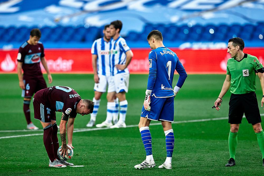 during the La Liga soccer match between Real Sociedad C.F vs R.C Celta de Vigo at Reale Arena.San Sebastian, Guipuzcoa ,Spain, 24/06/2020.
