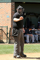 14 April 2013:  Steve Jones calls a strike during an NCAA division 3 College Conference of Illinois and Wisconsin (CCIW) Baseball game between the Elmhurst Bluejays and the Illinois Wesleyan Titans in Jack Horenberger Stadium, Bloomington IL