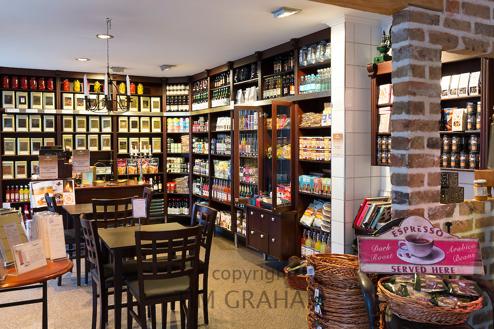 Interior of Slagter Christiansen gourmet food shop and cafe selling coffee, tea, gifts, souvenirs, meats in Fano - Fanoe -  in Denmark