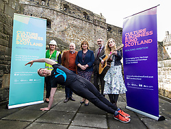 EMBARGOED UNTIL 00:01 3 APRIL 2017  FREE TO USE  FREE TO USE FREE TO USE<br /> Pictured: Laura Wilson, BAM construction, David Watt, Chief Executive Arts and Business Scotland, Fiona Hyslop, Brian Inkster, Inkster Solicitors, Lousie Quinn, Tromolo Productions (front) Sam Beckett, Y Dance<br /> On Friday, Culture Secretary Fiona Hyslop visited Edinburgh Castle and launched the Culture & Business Fund Scotland. Funded by the Scottish Government via Creative Scotland and Historic Environment Scotland the fund will encourage the development of arts, heritage and business partnerships<br /> <br /> Ger Harley | EEm 31 March 2017