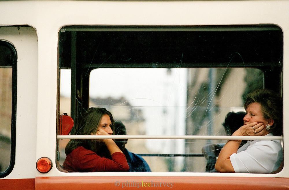 Women sitting on a tram n Budapest, Hungary
