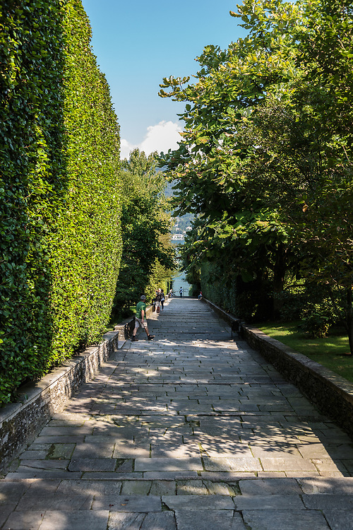 The stairway to the palazzo quay in Isola Madre garden at Lago Di Maggiore, Italy.