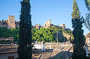 View from the Albaicin district, Granada, Spain over to the Alhambra