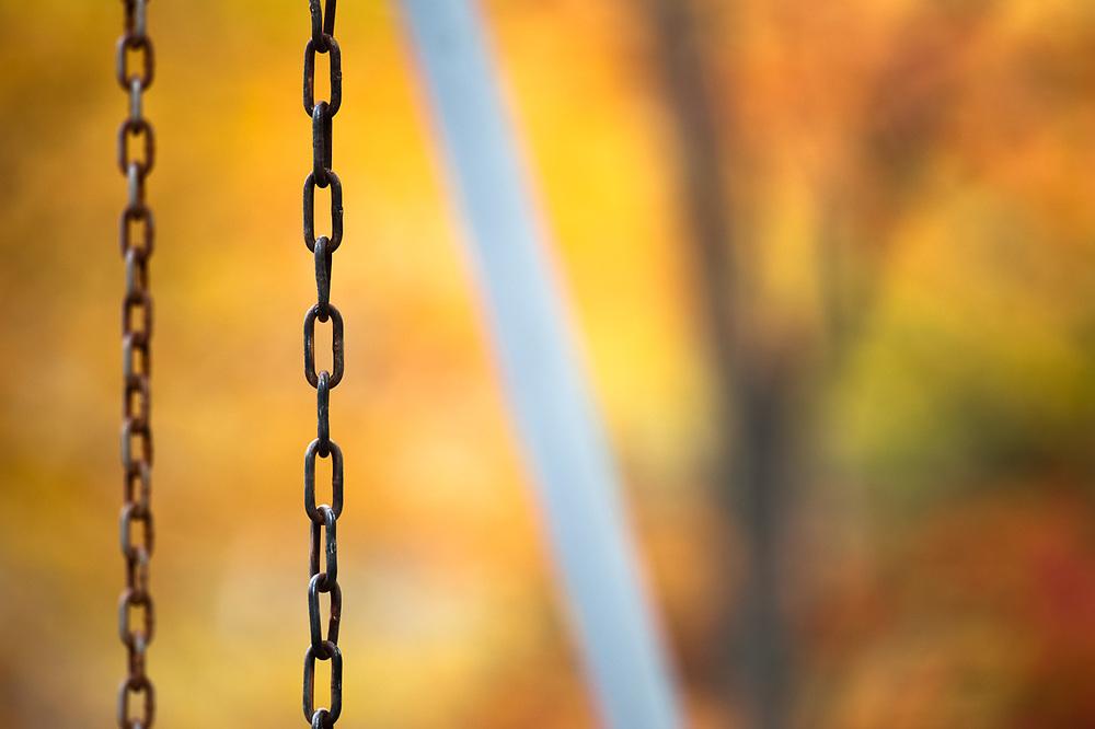 Swing set, autumn, Upper Peninsula, Michigan, USA