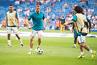 Real Madrid's Carlos Henrique Casemiro, Gareth Bale and Marcelo during UEFA Champions League match between Real Madrid and Apoel at Santiago Bernabeu Stadium in Madrid, Spain September 13, 2017. (ALTERPHOTOS/Borja B.Hojas)