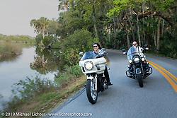 Klock Werks' Vanessa and Brian Klock on a ride through Tomoka State Park during Daytona Beach Bike Week, FL. USA. Friday, March 15, 2019. Photography ©2019 Michael Lichter.