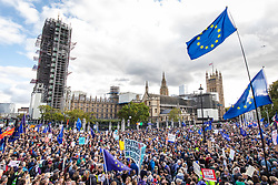 © Licensed to London News Pictures. 19/10/2019. London, UK. Thousands of protesters fill Parliament Square as MPs debate Prime Minister Boris Johnson's proposed Brexit deal. It is the first Saturday sitting of the Commons since the Falklands conflict. Photo credit: Rob Pinney/LNP
