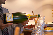 A double magnum Champagne Duval-Leroy Blanc de Chardonnay millesime vintage 1998 poured in a row of glasses for tasting and aperitif Champagne Duval Leroy, Vertus, Cotes des Blancs, Champagne, Marne, Ardennes, France