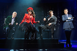 "© Licensed to London News Pictures. 21 March 2014. London, England. L-R: Ashley Knight as Louis, Victoria Elliott as Jordy, Nigel Harman as Simon and Simon Bailey as Liam O'Deary. Photocall for the Simon Cowell X-Factor Musical ""I Can't Sing!"" written by Harry Hill and Steve Brown at the London Palladium. Directed by Sean Foley with Nigel Harman as Simon, Victoria Elliott as Jordy and Ashley Knight as Louis. Photo credit: Bettina Strenske/LNP"