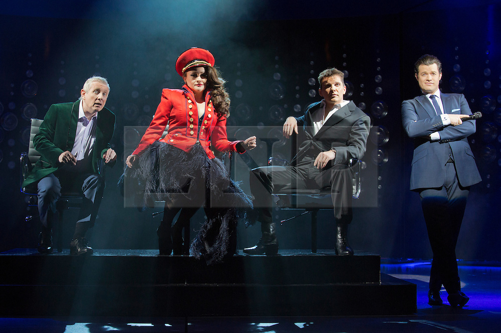"""© Licensed to London News Pictures. 21 March 2014. London, England. L-R: Ashley Knight as Louis, Victoria Elliott as Jordy, Nigel Harman as Simon and Simon Bailey as Liam O'Deary. Photocall for the Simon Cowell X-Factor Musical """"I Can't Sing!"""" written by Harry Hill and Steve Brown at the London Palladium. Directed by Sean Foley with Nigel Harman as Simon, Victoria Elliott as Jordy and Ashley Knight as Louis. Photo credit: Bettina Strenske/LNP"""