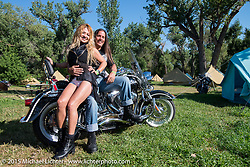 Fannia and Daniel de Fransisco of Dallas, TX on their 2003 HD 100th Anniversary Hertitage at the Glencoe Campground during the 75th Annual Sturgis Black Hills Motorcycle Rally.  SD, USA.  August 7, 2015.  Photography ©2015 Michael Lichter.