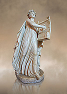Roman ststue of Apollo with a lyre, copied from an earlier 4th cebtury BC Hellenistic statue, from a group of Muses found in Villa de Cassius at Tivoli,  inv 310, Vatican Museum Rome, Italy,  art background .<br /> <br /> If you prefer to buy from our ALAMY STOCK LIBRARY page at https://www.alamy.com/portfolio/paul-williams-funkystock/greco-roman-sculptures.html . Type -    Vatican    - into LOWER SEARCH WITHIN GALLERY box - Refine search by adding a subject, place, background colour, museum etc.<br /> <br /> Visit our CLASSICAL WORLD HISTORIC SITES PHOTO COLLECTIONS for more photos to download or buy as wall art prints https://funkystock.photoshelter.com/gallery-collection/The-Romans-Art-Artefacts-Antiquities-Historic-Sites-Pictures-Images/C0000r2uLJJo9_s0c