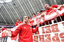 14.05.2011, Allianz Arena, Muenchen, GER, 1.FBL, FC Bayern Muenchen vs VfB Stuttgart, im Bild  Thomas Kraft (Bayern #35) bei den Fans, EXPA Pictures © 2011, PhotoCredit: EXPA/ nph/  Straubmeier       ****** out of GER / SWE / CRO  / BEL ******