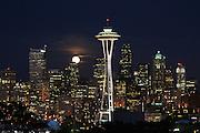 Space Needle and Full Moon- Seattle Skyline - Washington State