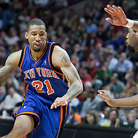 17 December 2009: New York Knicks forward Wilson Chandler drives past Chicago Bulls guard John Salmons during the Chicago Bulls 98-89 victory over the New York Knicks at the United Center, in Chicago, Illinois, USA.