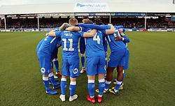 The Peterborough United team huddle together before kick-off - Mandatory by-line: Joe Dent/JMP - 01/01/2019 - FOOTBALL - ABAX Stadium - Peterborough, England - Peterborough United v Scunthorpe United - Sky Bet League One