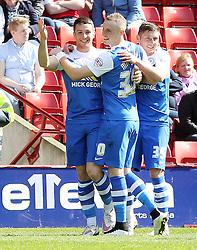 Peterborough United's Connor Washington celebrates scoring the opening goal - Photo mandatory by-line: Joe Dent/JMP - Mobile: 07966 386802 - 18/04/2015 - SPORT - Football - Barnsley - Oakwell - Barnsley v Peterborough United - Sky Bet League One