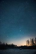 Cloudless night and meadow covered with tiny bit of first snow and several hayrolls, near Limbaži, Vidzeme, Latvia Ⓒ Davis Ulands | davisulands.com
