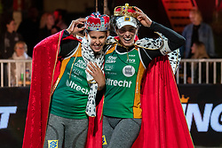 "Eduarda Santos Lisboa ""Duda"" BRA, Agatha Bednarczuk BRA during the ceremony on the last day of the beach volleyball event King of the Court at Jaarbeursplein on September 12, 2020 in Utrecht."
