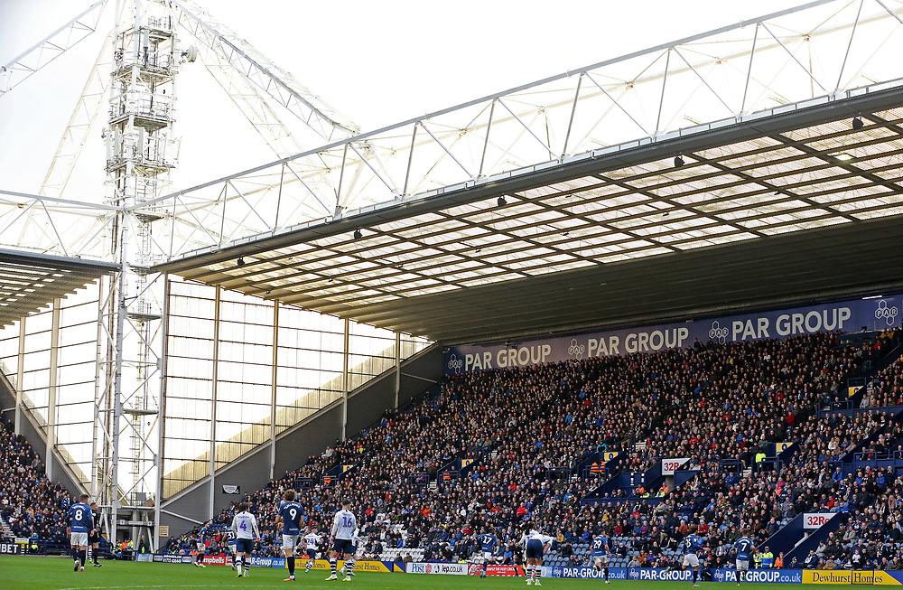 A general view of the second half action at Deepdale, home of Preston North End<br /> <br /> Photographer Rich Linley/CameraSport<br /> <br /> The EFL Sky Bet Championship - Preston North End v Blackburn Rovers - Saturday 26th October 2019 - Deepdale Stadium - Preston<br /> <br /> World Copyright © 2019 CameraSport. All rights reserved. 43 Linden Ave. Countesthorpe. Leicester. England. LE8 5PG - Tel: +44 (0) 116 277 4147 - admin@camerasport.com - www.camerasport.com