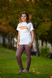 28OCT20 Rashmi Mantha is fronting Aberlour's One Shirt, One Month campaign which encourages people to wear the same shirt every day for a month to highlight people living in poverty. Pic in Harrison Park, Edinburgh.