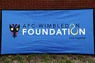 AFC Wimbledon foundation advert during the EFL Sky Bet League 1 match between AFC Wimbledon and Oldham Athletic at the Cherry Red Records Stadium, Kingston, England on 21 April 2018. Picture by Matthew Redman.