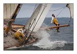 The bow crew on The Lady Anne 1912 a 15 metre...* The Fife Yachts are one of the world's most prestigious group of Classic  yachts and this will be the third private regatta following the success of the 98,  and 03 events.  . .Marc Turner / PFM Pictures