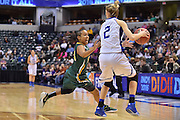 April 4, 2016; Indianapolis, Ind.; Kiki Robertson applies pressure in the back court against Nicole Hampton in the NCAA Division II Women's Basketball National Championship game at Bankers Life Fieldhouse between UAA and Lubbock Christian. The Seawolves lost to the Lady Chaps 78-73.