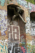 Parkland walk and Marilyn Collins Spriggan sculpture on the 15th October 2019 in London in the United Kingdom. Parkland Walk follows the course of the old railway that ran between Finsbury Park and Alexandra Palace.