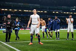 Zlatan Ibrahimovic of Paris Saint-Germain celebrates after Paris Saint-Germain win the math 1-2 to progress to the last 8 of the competition - Mandatory byline: Rogan Thomson/JMP - 09/03/2016 - FOOTBALL - Stamford Bridge Stadium - London, England - Chelsea v Paris Saint-Germain - UEFA Champions League Round of 16: Second Leg.
