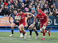 Rugby Union - 2017 / 2018 Guinness Pro14 - Cardiff Blues vs. Scarlets<br /> <br /> Gareth Davies  of Llanelli Scarlets  breaks to set up llanelli's 1st try, at Cardiff Arms Park.<br /> <br /> COLORSPORT/WINSTON BYNORTH