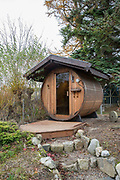 A small converted whiskey barrel sauna on the 7th November 2018 in Aviemore, Scotland in the United Kingdom.