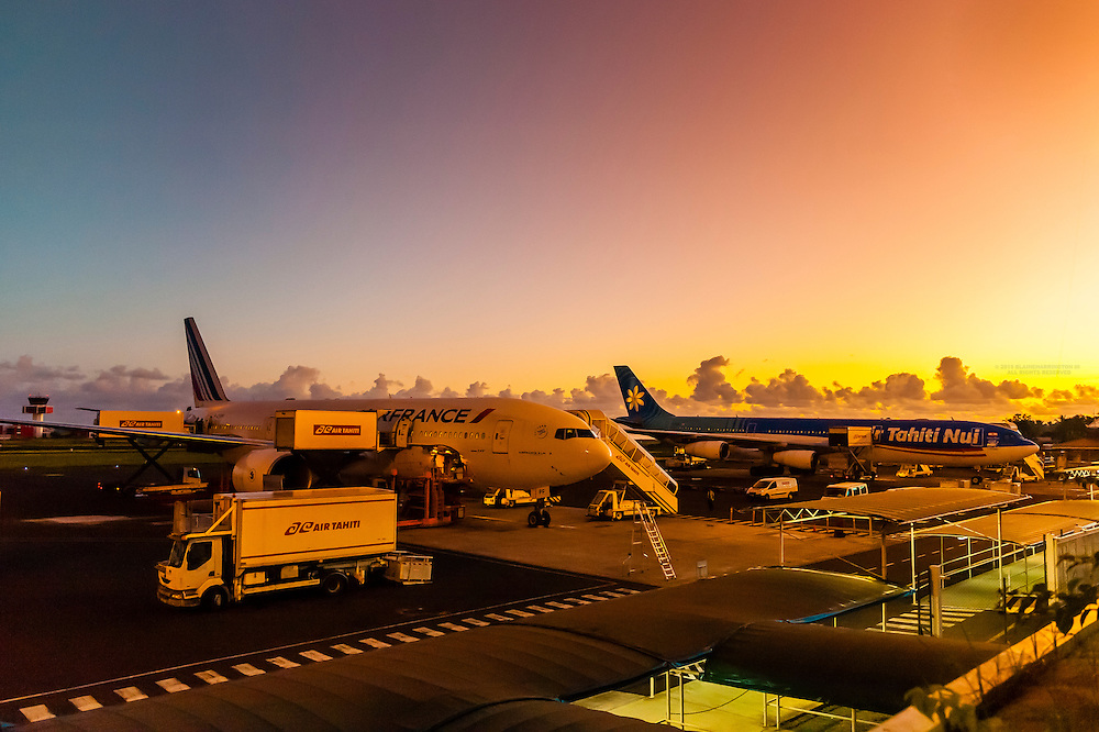 Air France and Air Tahiti Nui jets, Fa'a'ā International Airport, Faaa, Tahiti, French Polynesia.