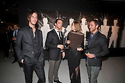 VLADIMIR RESTOIN ROITFELD; ANDY VALMORBIDA; CARINE ROITFELD; FABIO MANCONE  , Richard Hambleton private view.- New York- Godfather of Street art presented by Vladimir Restoin Roitfeld and Andy Valmorbida in collaboration with Giorgio armani. The Old Dairy. London. 18 November 2010. -DO NOT ARCHIVE-© Copyright Photograph by Dafydd Jones. 248 Clapham Rd. London SW9 0PZ. Tel 0207 820 0771. www.dafjones.com.