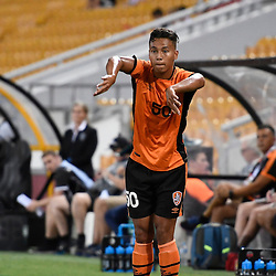 BRISBANE, AUSTRALIA - JANUARY 31: Dane Ingham of the roar throws in during the second qualifying round of the Asian Champions League match between the Brisbane Roar and Global FC at Suncorp Stadium on January 31, 2017 in Brisbane, Australia. (Photo by Patrick Kearney/Brisbane Roar)
