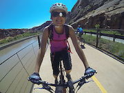 SHOT 5/9/16 11:09:33 AM - GoPro footage and stills of the Mag 7 trail, Fisher Towers and the bike trail along Highway 128 in Moab. Moab is a city in Grand County, in eastern Utah, in the western United States. Moab attracts a large number of tourists every year, mostly visitors to the nearby Arches and Canyonlands National Parks. The town is a popular base for mountain bikers and motorized offload enthusiasts who ride the extensive network of trails in the area. (Photo by Marc Piscotty / © 2016)