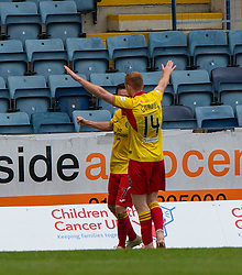 Partick Thistle's Shea Gordon celebrates after scoring their second goal. Dundee 1 v 3 Partick Thistle, Scottish Championship game player 19/10/2019 at Dundee stadium Dens Park.