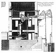 Newcomen steam engine.  From Bernard Forest de Belidor 'Architecture Hydraulique' Paris 1737. Engraving