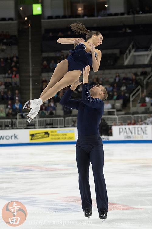January 4, 2018; San Jose, CA, USA; Jessica Pfund and Joshua Santillan perform in the pairs short program during the 2018 U.S. Figure Skating Championships at SAP Center.