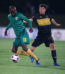 Lehlohonolo Nonyane of Golden Arrows holds off Roland Putsche of Cape Town City during the 2016 Premier Soccer League match between Golden Arrows and Cape Town City FC held at the Prince Magogo Stadium in Durban, South Africa on the 14th September 2016<br /> <br /> Photo by:   Steve Haag / Real Time Images