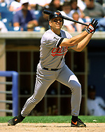 CHICAGO - 1999:  Cal Ripken Jr. of the Baltimore Orioles bats during an MLB game versus the Chicago White Sox during the 1999 season at Comiskey Park in Chicago, Illinois. (Photo by Ron Vesely) Subject:   Cal Ripken Jr.