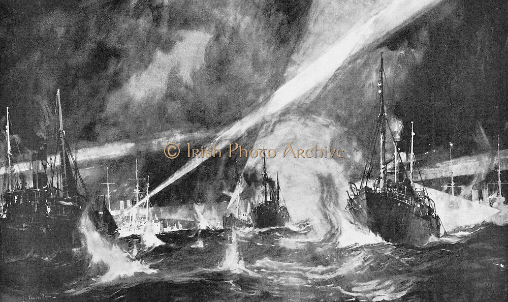 Russo-Japanese War 1904-1905: The Dogger Bank Incident. Russian Baltic squadron firing on the Gamecock fishing fleet off the Dogger Bank.