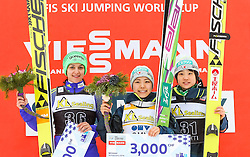 19.02.2016, Salpausselkae Schanze, Lahti, FIN, FIS Weltcup Ski Sprung, Lahti, Damen, im Bild v.l.: Maja Vtic (SLO, 2. Platz), Siegerin Sara Takanashi (JPN), Yuki Ito (JPN, 3. Platz) // f.l.: 2nd placed Maja Vtic of Slovenia, Winner Sara Takanashi of Japan and 3rd placed Yuki Ito of Japan during Ladies FIS Skijumping World Cup of the Lahti Ski Games at the Salpausselkae Hill in Lahti, Finland on 2016/02/19. EXPA Pictures © 2016, PhotoCredit: EXPA/ JFK