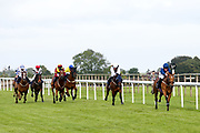 Costello ridden by Daniel Muscutt and trained by Mike Murphy, Anoo Maximo ridden by Kieran Shoemark and trained by Michael Bell, Folie D'Amour ridden by Martin Dwyer and trained by Eve Johnson Houghton, Global Agreement ridden by Sam Hitchcott and trained by Milton Harris, Ampney Red ridden by Raul Da Silva and trained by Michael Appleby, Lovers' Gait ridden by Liam Keniry and trained by Daniel Kubler, Lafontaine ridden by Nicola Currie and trained by Sylvester Kirk, Toolmaker ridden by Kieran O'Neill and trained by David Flood, Mrs Tiffen ridden by Noel Garbutt and trained Lisa Williamson in the visitbath.co.uk Handicap - Mandatory by-line: Robbie Stephenson/JMP - 18/07/2020 - HORSE RACING- Bath Racecourse - Bath, England - Bath Races 18/07/20