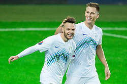 Dejan Lazarevic of Slovenia and Valter Birsa of Slovenia celebrate after Birsa scored first goal for Slovenia after penalty shot during the EURO 2016 Qualifier Group E match between Slovenia and Lithuania, on October 9, 2015 in SRC Stozice, Ljubljana Slovenia. Photo by Vid Ponikvar / Sportida