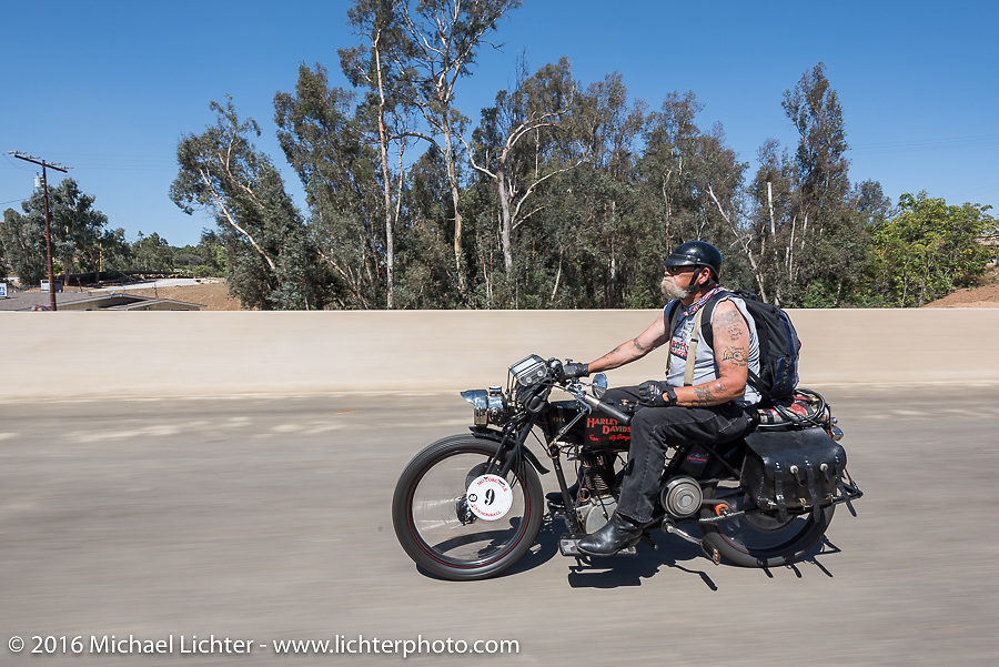 Chopper Dave Monson of California riding his 1914 Harley-Davidson on the last day of the Motorcycle Cannonball Race of the Century. Stage-15 ride from Palm Desert, CA to Carlsbad, CA. USA. Sunday September 25, 2016. Photography ©2016 Michael Lichter.