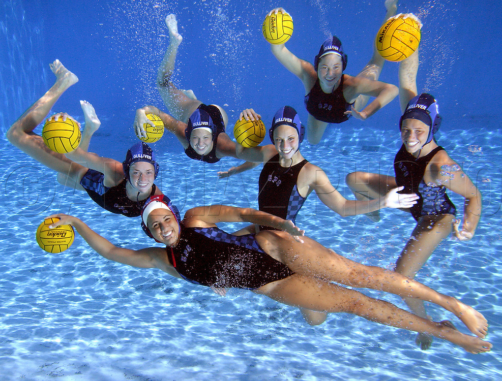 Miami Gulliver Prep's water polo team, with 135 consecutive victories, is leaving opponents in its wake. Up front is Goalie, Ilana Vaca. Left to right is Taylor Byrne, Marty Zdon, Meredith Worley, Courtney MacMahon and Alison Mantel.